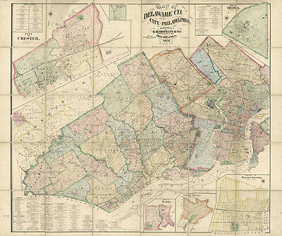 1876 Farm Line Map of Delaware County PA and the city of Philadelphia