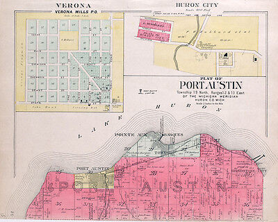 1904 Map of Port Austin Township Huron County Michigan