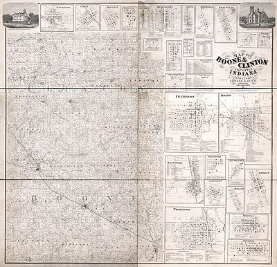 1865 Farm Line Map of Boone & Clinton County Indiana