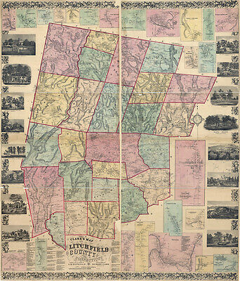 1859 Map of Litchfield County Connecticut