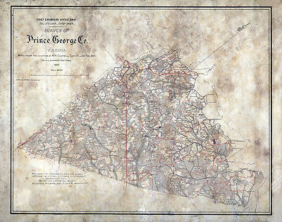 1863 Map of Prince George County Virginia