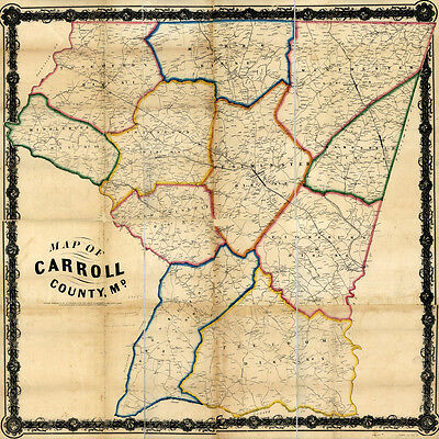 1863 Map of Carroll County Maryland LARGE 40 x 40