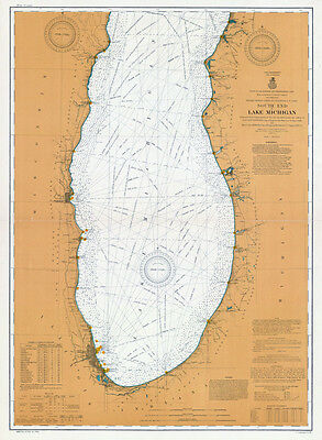 1905 Nautical Map South End of Lake Michigan