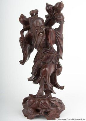China 20. Jh. A Chinese Carved Hardwood Figure of Li Tiequai Cinese Chinoise