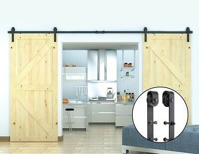 3.6m Sliding Barn Door Hardware Steel Rustic Interior Closet Doors Black Antique