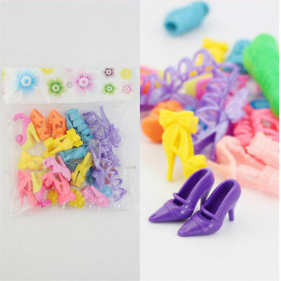 10 pairs Fashion Party Daily Wear Dress Outfits Clothes Shoes For Barbie Doll