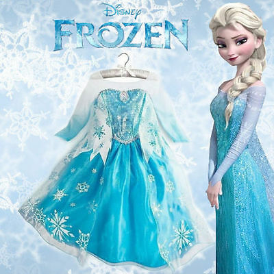 FROZEN PRINCESS ELSA SNOWFLAKE-GIRLS COSTUMES COSPLAY DRESS CAPE FOR 2-10 años