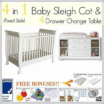 4 in 1 Baby Sleigh Cot FIXED SIDE and 4 DRAWER WHITE Change Table Bed Package