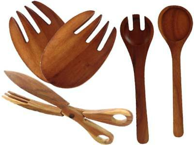 1,2 or 3 Wood Salad Servers Tongs, Hands, Spoon & Fork Set Hand Made HighQuality