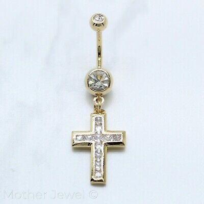 14K Yellow Gold Triple Plated Cross Simulated Diamond Belly Navel Ring