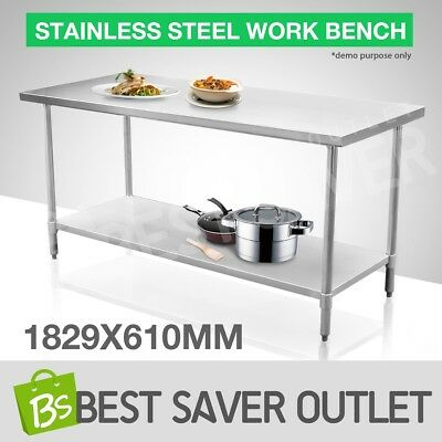 183cm x 61cm Kitchen Food Work Bench & Catering Table Stainless Steel