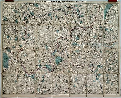 Antique maps, A New Map of the environs of London, G W Bacon, c. 1870