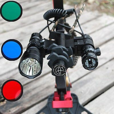 1200LM Compound Bow Flashlight + Green Laser Sight + Archery Stabilizer Damper