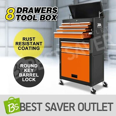 Tool Box Chest Cabinet Toolbox Castor Trolley Roller Storage Mechanic 8 Drawers