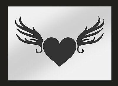 Heart Wings Stencil Perfect for Airbrushing & Painting On Walls & Fabric