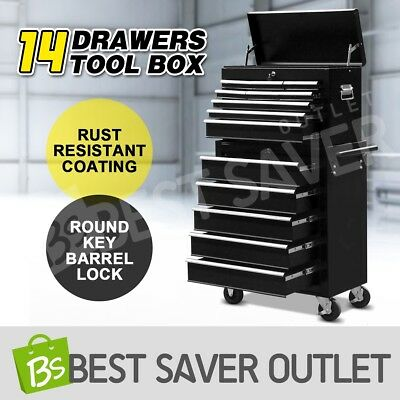 Mechanic Tool Box Storage Cabinet Chest Trolley Roller Toolbox 14 Drawer Black