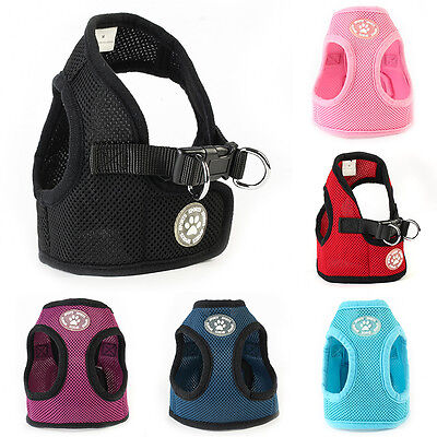 Adjustable Small Pet Dog Cat Puppy Walking Soft Mesh Chest Vest Lead Harness New