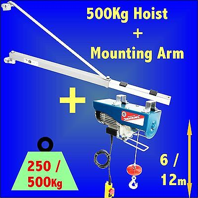 500kg Electric Hoist + Support Arm Winch Lifting Scaffold crane block lift