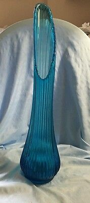 "Mid Century Viking Stretch Swung 20-1/2"" Blue Glass Vase Ribbed"