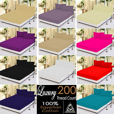 100% EGYPTIAN COTTON 200 Thread Count Fitted sheet, or Pillow case Pair