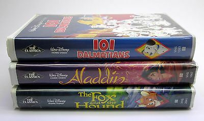 Walt Disney BLACK DIAMOND VHS tapes lot Aladdin 101 Dalmations Fox and the Hound