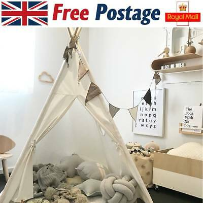 Kids WIGWAM 100% COTTON Canvas TEEPEE Children Play Tent Indoor Party Gift