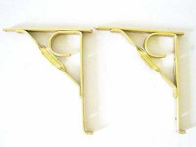 "Vintage Brass Tone Aluminum Shelf Brackets Set of 2 Unused for 6"" Shelves"