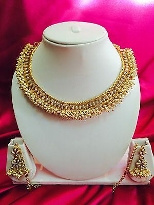 Bollywood Indian Bridal Necklace Earrings Jewellery White Pearls Gold Set #A17