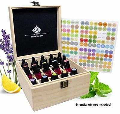 SXC 25 Slots Essential Oil Wooden Box Organizer Free EO Label and Padding