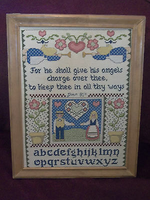"Bible Verse Psalm 91:11 Cross Stitch Sampler in Wooden Frame 15.75"" x 12.25"""