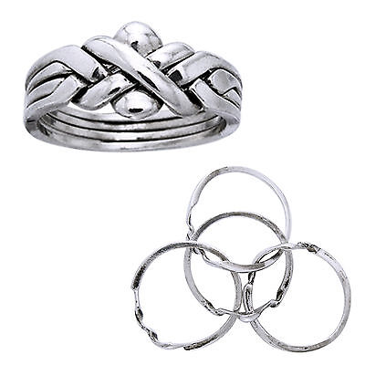 Sterling Silver Four Band X Weave Puzzle Ring