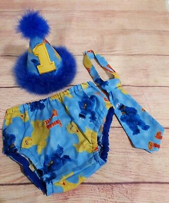 Sesame St Bird Bird & Cookie Monster Cake Smash Outfit