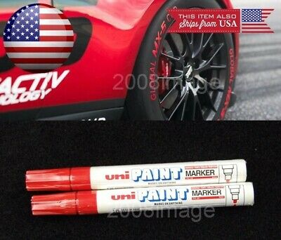 2x Red Waterproof Oil Based Pen Paint Marker For Mitsubishi Tire Wheel Tread