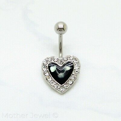 Mother Of Pearl 14Mm Love Heart Belly Button Navel Silver Surgical Steel Ring