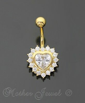 14K Yellow Gold Triple Plated Simulated Diamond Heart Belly Button Navel Ring