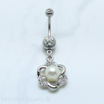 Pearl Silver Surgical Steel Simulated Diamond Flower Belly Button Navel Ring