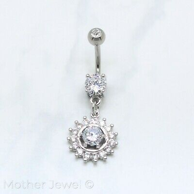 Simulated Diamond Round Dangle Silver Surgical Steel Belly Button Navel Ring