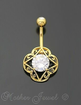 14K Yellow Gold Triple Plated Simulated Diamond Filigree Belly Button Navel Ring