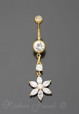 14K Yellow Gold Triple Plated Flower Dangle Simulated Diamond Belly Navel Ring