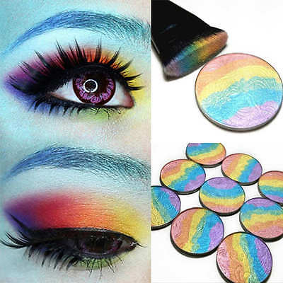 New Rainbow Shimmer Eyeshadow Highlighter Palette Face Blusher Contour Powder