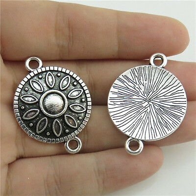 20124 10pcs Charms Alloy Sunflower Pendant Antique Silver Filigree Connector