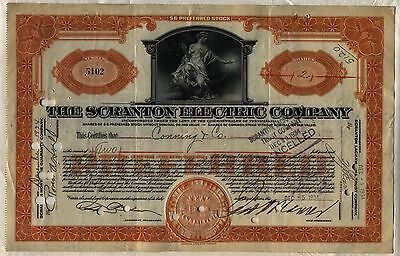 Scranton Electric Company Stock Certificate Pennsylvania Power Orange