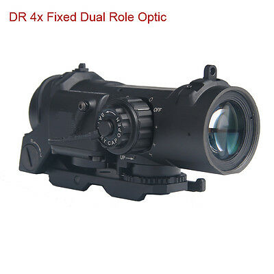 Tactical QD 4x Adjustable Fixed Dual Role Sight Red /Green Illumination Airsoft
