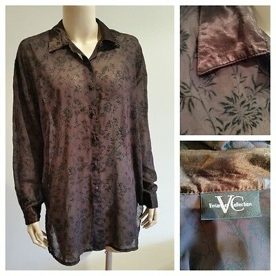 VIVIANNES COLLECTION Sheer Brown Shirt Top Ladies Size 12