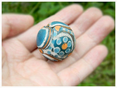 Antique Compound Ward Off Protect Evil Mystery Blue Eyes Glass eastern Bead BIG!