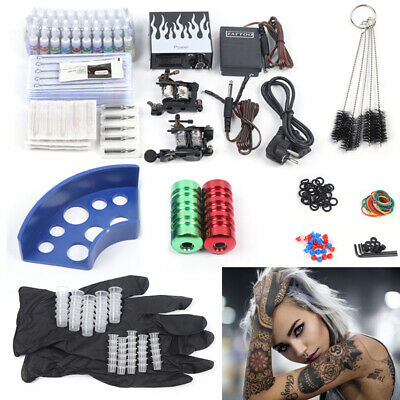 Completi Kit 2 Tatuaggio Tattoo Macchina Gun 40 Inchiostro Power Supply Set DE