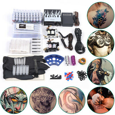 Tattoo Kit Completi Tatuaggio 2 Tattoomaschine Rotary Machine Gun 40  Inchiostro