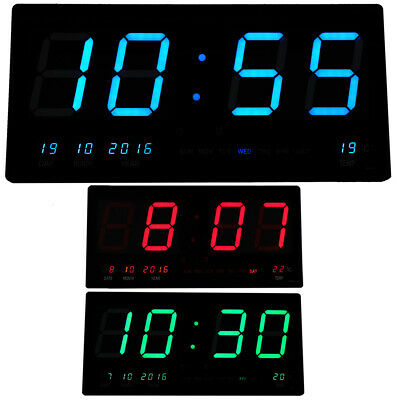 Large Digital Clock Jumbo LED Display Alarm Wall Calendar Timer Temperature