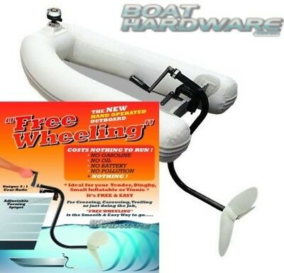 Free Wheeling Manual Hand Operated OUTBOARD Suit Small Inflatable Boat Tinnie