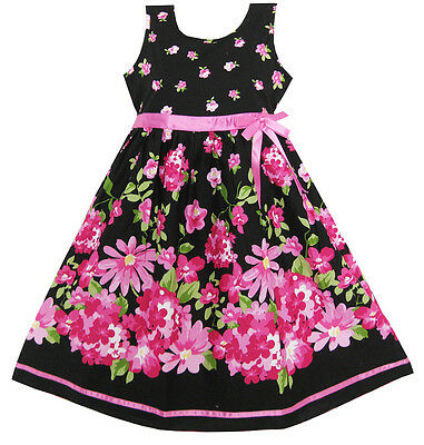 US Seller Girls Dress Hot Pink Flower Belt Party Christmas Gift Kids Size 4-12
